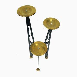 Modernistischer Brutalistischer Eisen & Messing Kerzenständer mit Drei Armen, 1960er