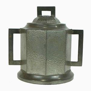 Vintage Art Deco Octagonal Pewter Tin with Lid