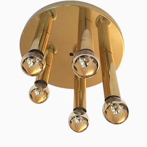 Mid-Century German Brass Ceiling Lamp with Five Lights from Sölken, 1960s