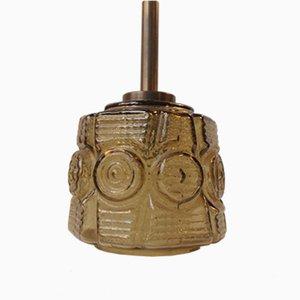 Lámpara colgante danesa Mid-Century de latón y vidrio de Vitrika, años 60