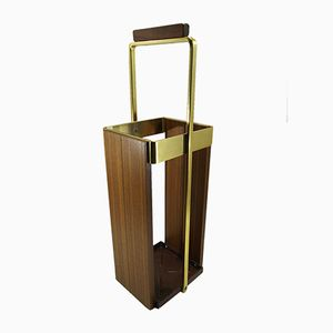 Mid-Century Teak and Brass Umbrella Stand, 1960s