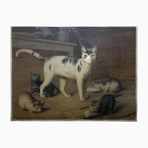 Antike Katzen Wandkarte von Lehmann & Leutemann