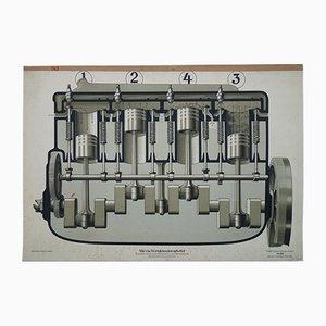 Deutsche Vintage Viertaktmotor Lehrtafel, 1930er