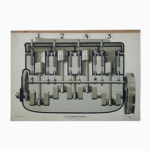 Vintage German Four-Stroke Engine Wall Chart, 1930s