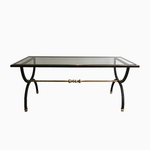 Blackened Steel & Brass Coffee Table, 1950s