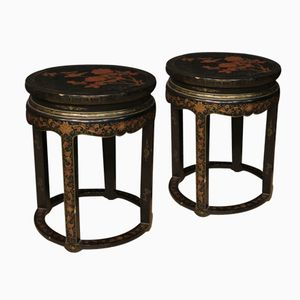 French Lacquered Chinoiserie Coffee Tables, 1950s, Set of 2