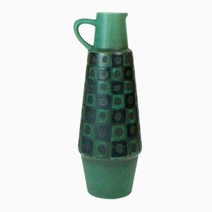German Ceramic Black and Green Peacock Vase from Schloßberg, 1960s