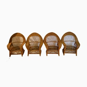 Rattan and Wicker Armchairs from Gervasoni, 1970, Set of 4