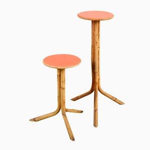 Tavolini in vimini, anni '60, set di 2