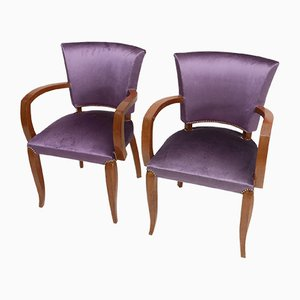 Belgian Purple Art Deco Armchairs by Charles van Beerleire, 1940s, Set of 2