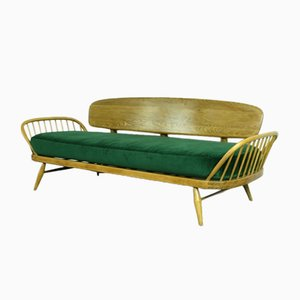 Vintage Blonde Beech & Green Velvet Sofa by Lucian Ercolani for Ercol, 1950s