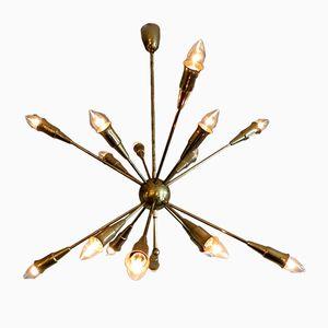 Italian Sputnik Brass Chandelier, 1950s