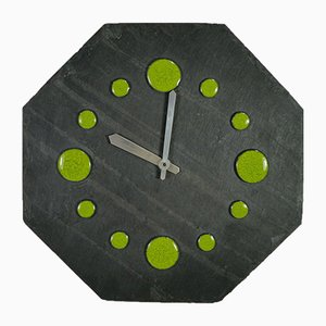 Reloj de pared vintage octagonal de pizarra, años 60