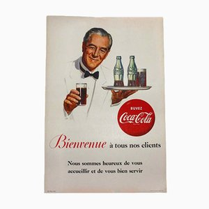 French Vintage Coca Cola Cardboard Poster, 1950s