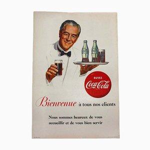 Póster de Coca Cola francés vintage de cartón, años 50