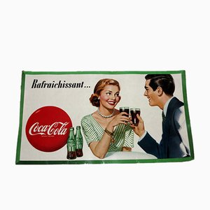 French Coca Cola Ad Cardboard Poster, 1950s