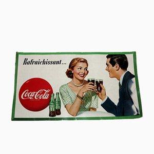 Póster publicitario francés de Coca Cola de cartón, años 50