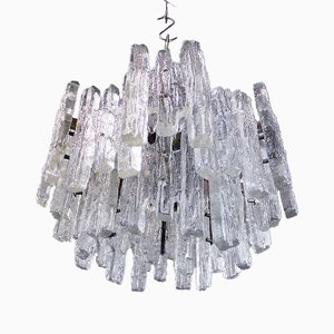 Extra Large Frosted Murano Glass 18 Lights Chandelier by J.T. Kalmar, 1960s
