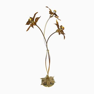 Gilt Brass Flower Floor Lamp from Massive Lighting, 1970s