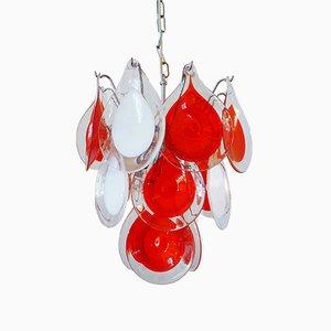 Lámpara de araña de vidrio rojo y blanco de Gino Vistosi para Venini, años 60