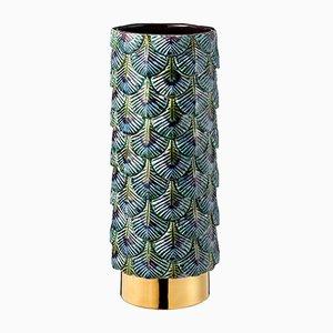 Hand-Dekorierte Plumage Vase in Blau & Goldfarben von Cristina Celestino für BottegaNove