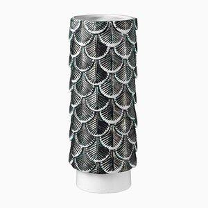 Jarrón Plumage en blanco y negro decorado a mano de Cristina Celestino para BottegaNove