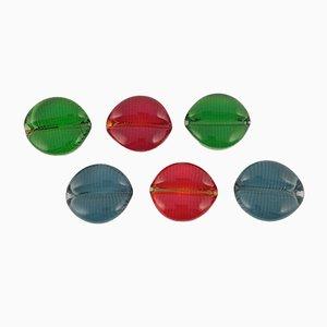 Reposacuchillos de vidrio colorido de Pukeberg, años 60