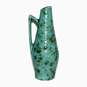 Vintage German Aquamarine Enameled Vase, 1970s