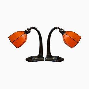 Lampade da tavolo Art Deco arancioni, inizio XX secolo, set di 2