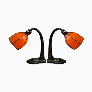 Lámparas de mesa Art Déco naranjas, década de 1900. Juego de 2