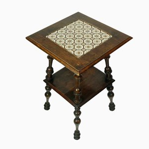 Table d'Appoint Antique en Noyer et Carreaux