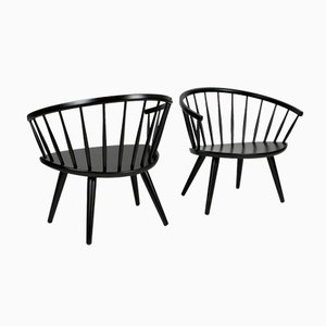 Black Arka Chairs by Yngve Ekstrom for Stolfabriks AB, 1950s, Set of 2