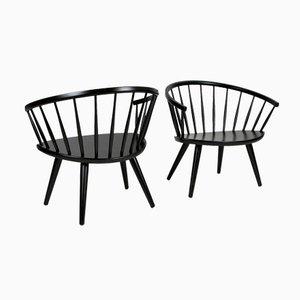 Schwarze Arka Stühle von Yngve Ekstrom für Stolfabriks AB, 1950er, 2er Set