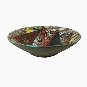 Italienische Mid-Century Steingutschale mit Sgrafitto Segelboot Motiv von Fratelli Fanciullacci