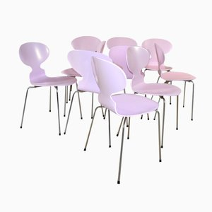 Sedie Ant rosa di Arne Jacobsen per Fritz Hansen, anni '70, set di 6