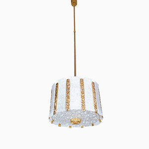 Gold Plated & Frosted Ice Glass Drum Chandelier by J.T. Kalmar for Kalmar, 1960s