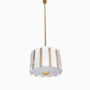 Lámpara colgante en forma de tambor de vidrio escarchado y baño de oro de J.T. Kalmar para Kalmar, años 60