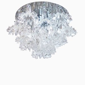 Large Floral Flush Mount Chrome and Glass Chandelier by Ercole Barovier for Barovier & Toso, 1960s