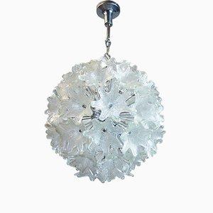 Chrom & Glas Blumen Kronleuchter von Paolo Venini für VeArt, 1960er