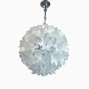 Chrome & Glass Flower Sputnik Chandelier by Paolo Venini for VeArt, 1960s