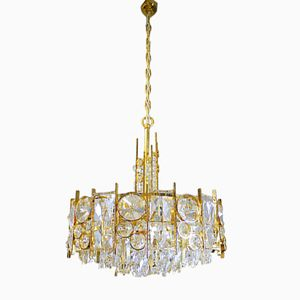 Gold Plated Hollywood Regency Crystal Chandelier from Palwa, 1960s