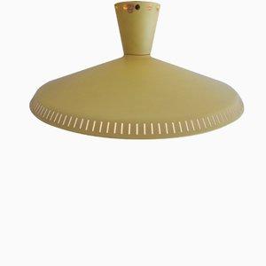 Lampada da soffitto industriale gialla di Louis Kalff per Philips, anni '50