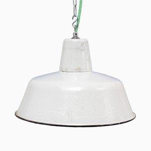 Lámpara industrial Mid-Century esmaltada en blanco