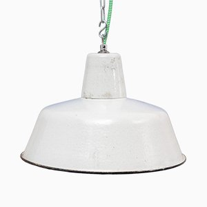 Mid-Century Industrial White Enameled Lamp