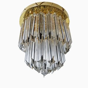 Vintage Round Gold-Plated Chandelier from Venini