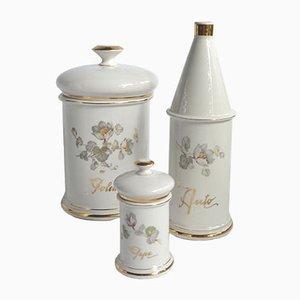 Frascos vintage de cerámica pintados a mano de Caronetti. Juego de 9