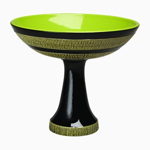 Red-Editions Green & Black Footed Bowl by Aldo Londi for Bitossi