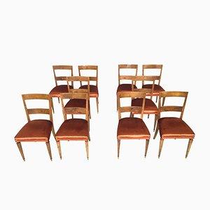 Vintage Nussholz Esszimmerstühle, 10er Set