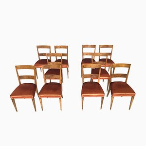 Vintage Walnut Dining Chairs, Set of 10