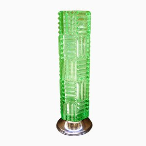 Bright Green Vintage Crystal Vase, 1970s
